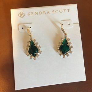 Kendra Scott green glass earrings